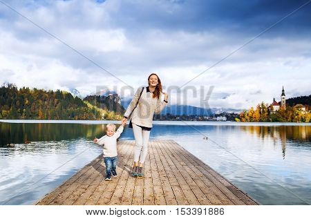 Family On The Lake Bled, Slovenia, Europe