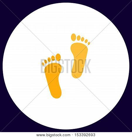 Footprint Simple vector button. Illustration symbol. Color flat icon
