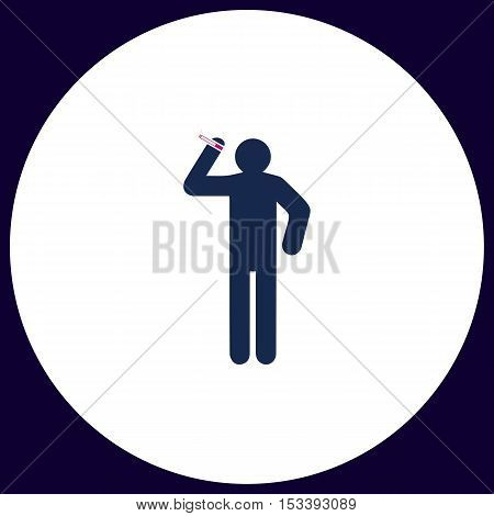smoker Simple vector button. Illustration symbol. Color flat icon