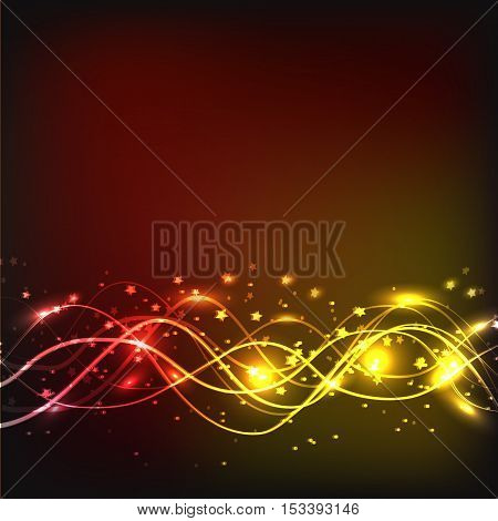 Abstract waves background. Image in red and yellow colours.