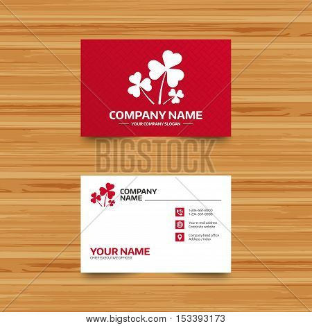 Business card template. Clovers with three leaves sign icon. Saint Patrick trefoil shamrock symbol. Phone, globe and pointer icons. Visiting card design. Vector