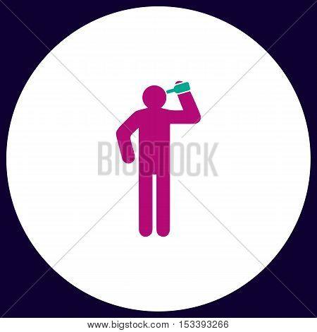 drunkard Simple vector button. Illustration symbol. Color flat icon