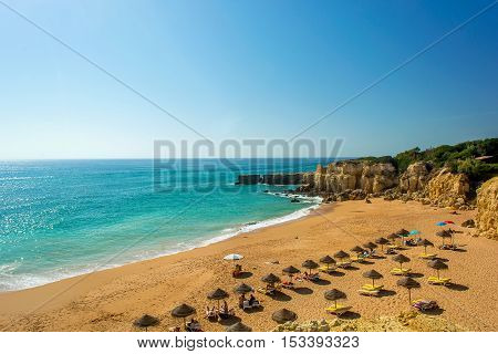 Beautiful sandy beach Pria do Castelo in Algarve region Portugal