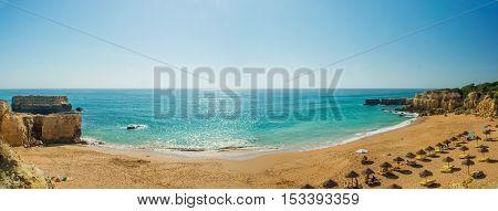 panoramic view of beautiful sandy beach Pria do Castelo in Algarve region Portugal