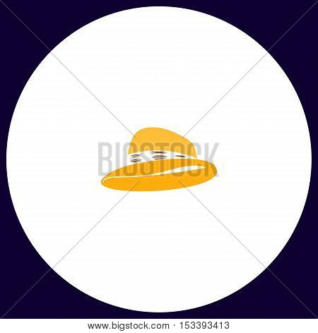 cowboy hat Simple vector button. Illustration symbol. Color flat icon