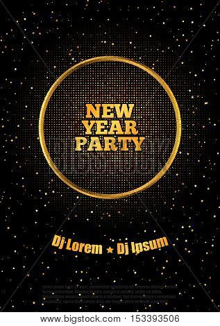 New Year Party Flyer Poster, Black and Gold Vector Design A4
