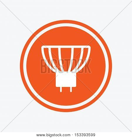 Light bulb icon. Lamp GU5.3 socket symbol. Led or halogen light sign. Graphic design element. Flat gU5.3 lamp symbol on the round button. Vector