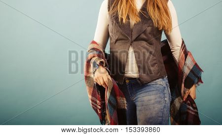 Fashionable Girl In Autumn Warm Clothing