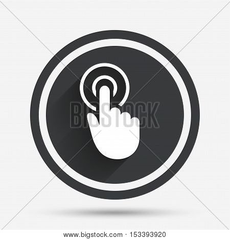 Hand cursor sign icon. Hand pointer symbol. Circle flat button with shadow and border. Vector