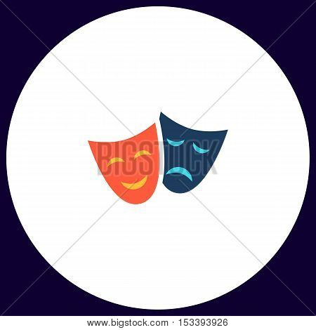 masks Simple vector button. Illustration symbol. Color flat icon