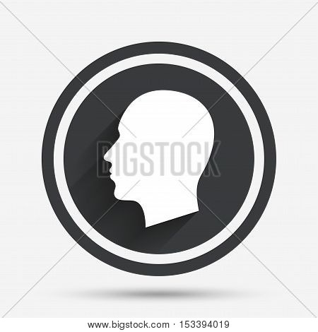 Head sign icon. Male human head symbol. Circle flat button with shadow and border. Vector