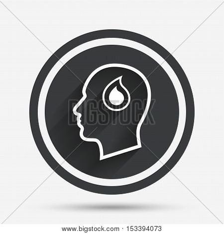 Head with blood drop sign icon. Male human head symbol. Circle flat button with shadow and border. Vector