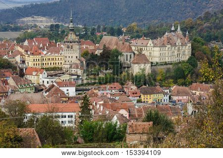 Panoramic view over the cityscape and roof architecture in Sighisoara town, Romania