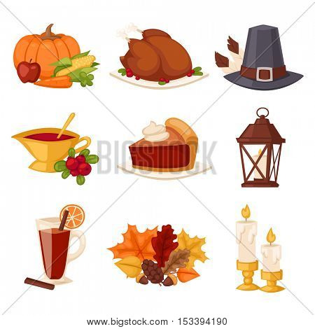Happy Thanksgiving Day set vector.