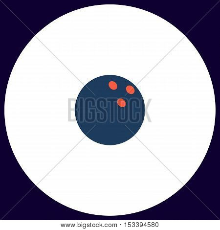 Bowling ball Simple vector button. Illustration symbol. Color flat icon