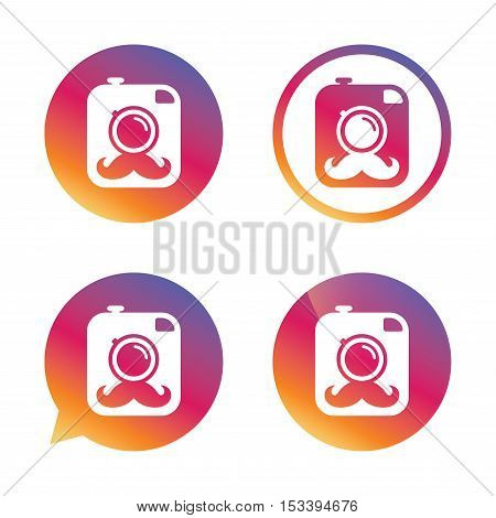 Hipster photo camera with mustache sign icon. Retro camera symbol. Gradient buttons with flat icon. Speech bubble sign. Vector