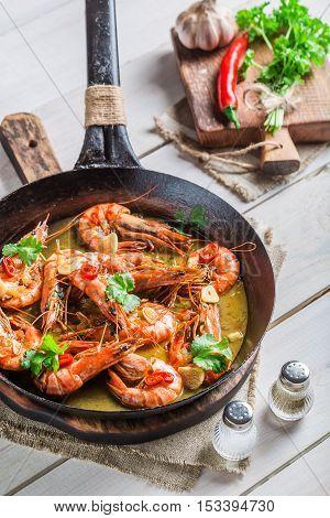 Tasty King Prawns Served On Hot Pan