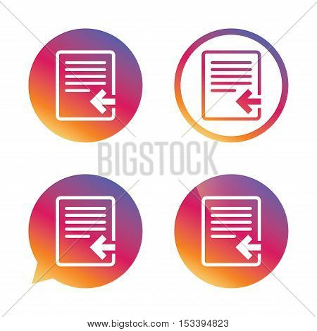 Import file icon. File document symbol. Gradient buttons with flat icon. Speech bubble sign. Vector