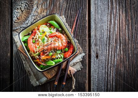 Traditional Asian Dish With Prawns And Noodles