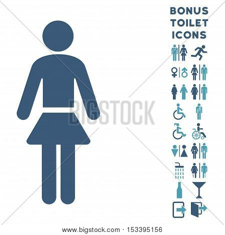 Lady icon and bonus man and lady lavatory symbols. Vector illustration style is flat iconic bicolor symbols, cyan and blue colors, white background.
