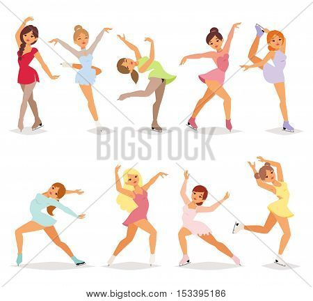 Ballet female dancers fitness traditional vector silhouettes on white background. Elegance performance ballerina dancer girl. Classical beauty people ballerina dancer girl balance exercise action.