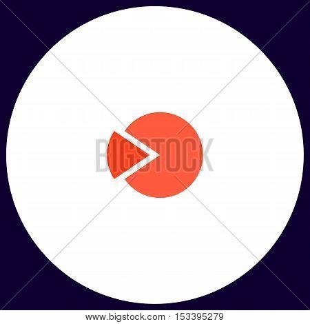 pie chart Simple vector button. Illustration symbol. Color flat icon