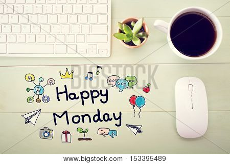 Happy Monday Concept With Workstation