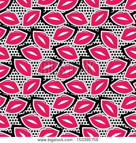 Vector illustration with lips stickers in cartoon 80s-90s comic style. Seamless pattern with colorful badge shape lips on black dotty background.