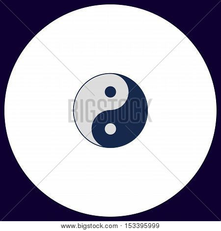 Ying yang Simple vector button. Illustration symbol. Color flat icon