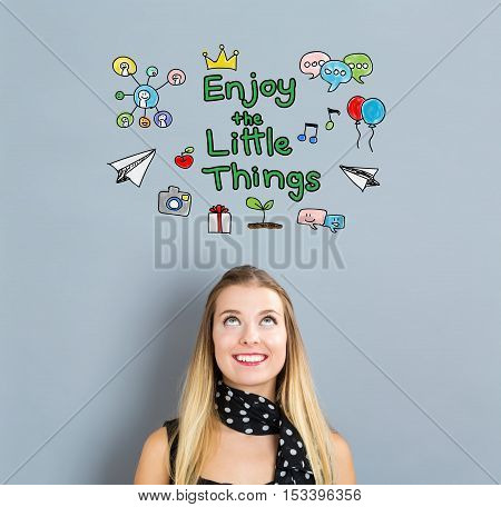 Enjoy The Little Things Concept With Happy Young Woman