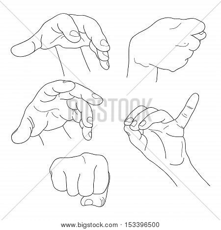 Hands set outline part 6. Fist, fico, pinch and others. EPS10 lineart