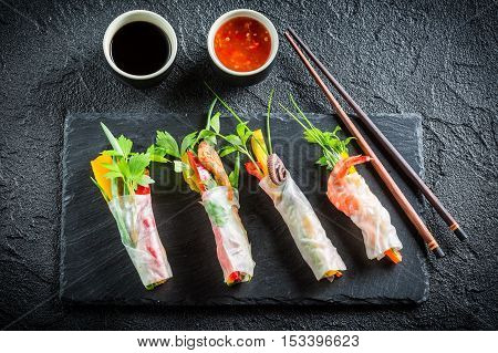 Enjoy Your Spring Rolls With Seafood And Vegetables