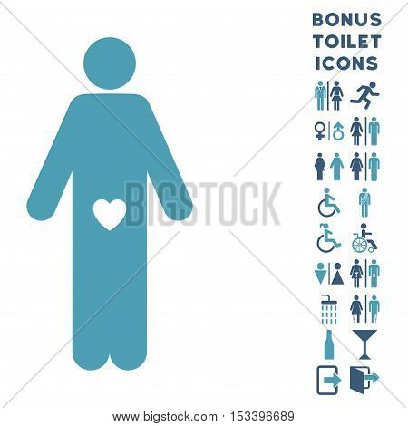 Lover Guy icon and bonus male and female toilet symbols. Vector illustration style is flat iconic bicolor symbols, cyan and blue colors, white background.