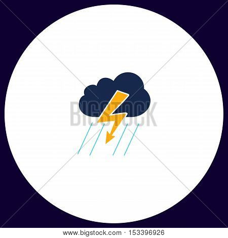 thunderstorm Simple vector button. Illustration symbol. Color flat icon