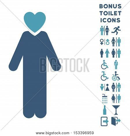 Lover Man icon and bonus gentleman and woman restroom symbols. Vector illustration style is flat iconic bicolor symbols, cyan and blue colors, white background.