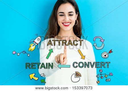 Attract Convert Retain Concept With Young Woman