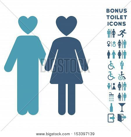 Lovers icon and bonus male and female WC symbols. Vector illustration style is flat iconic bicolor symbols, cyan and blue colors, white background.