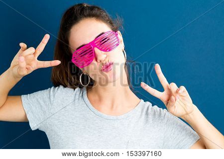 Young Woman Wearing Shutter Shades Sunglasses
