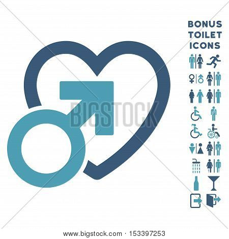 Male Love icon and bonus male and lady toilet symbols. Vector illustration style is flat iconic bicolor symbols, cyan and blue colors, white background.