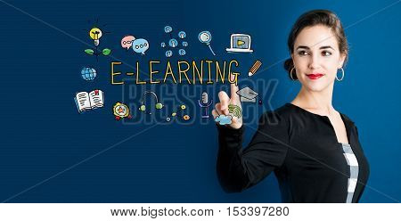 E-learning Concept With Business Woman