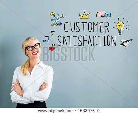Customer Satisfaction Text With Business Woman