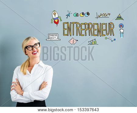 Entrepreneur Text With Business Woman