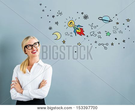 Idea Rocket With Business Woman