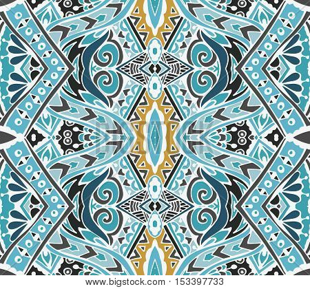 Abstract blue seamless ornamental vector pattern for fabric. mosaic tiled