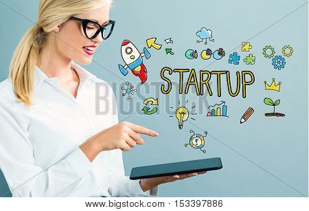 Startup Text With Business Woman