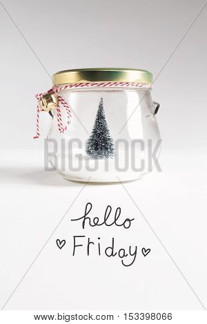 Hello Friday Message With Christmas Tree
