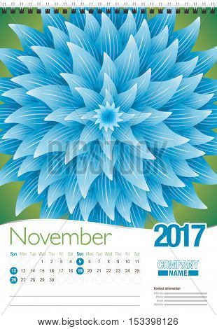 November wall calendar 2017 template with abstract floral design, ready for printing. Size: 297mm x 420mm. Format vertical. English version
