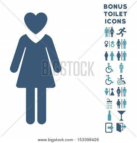 Mistress icon and bonus man and lady WC symbols. Vector illustration style is flat iconic bicolor symbols, cyan and blue colors, white background.