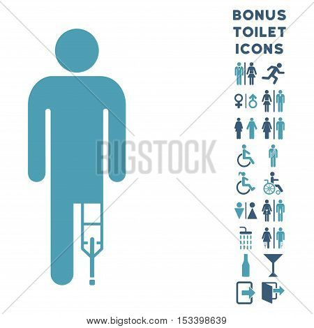 Patient Man icon and bonus gentleman and lady toilet symbols. Vector illustration style is flat iconic bicolor symbols, cyan and blue colors, white background.