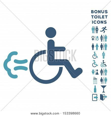 Patient Movement icon and bonus man and female WC symbols. Vector illustration style is flat iconic bicolor symbols, cyan and blue colors, white background.